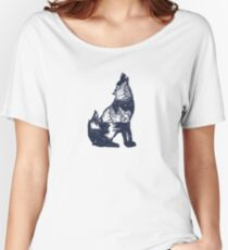 Doble exposición al lobo Camiseta ancha para mujer