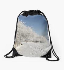 Snow on the river bank Drawstring Bag
