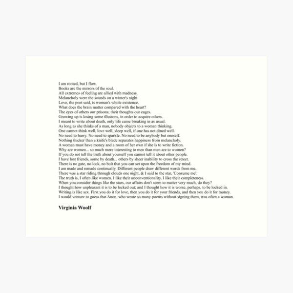 Virginia Woolf Quotes Art Print