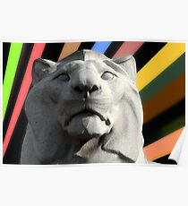 Lion Statue - Cenotaph, George Square, Glasgow Poster