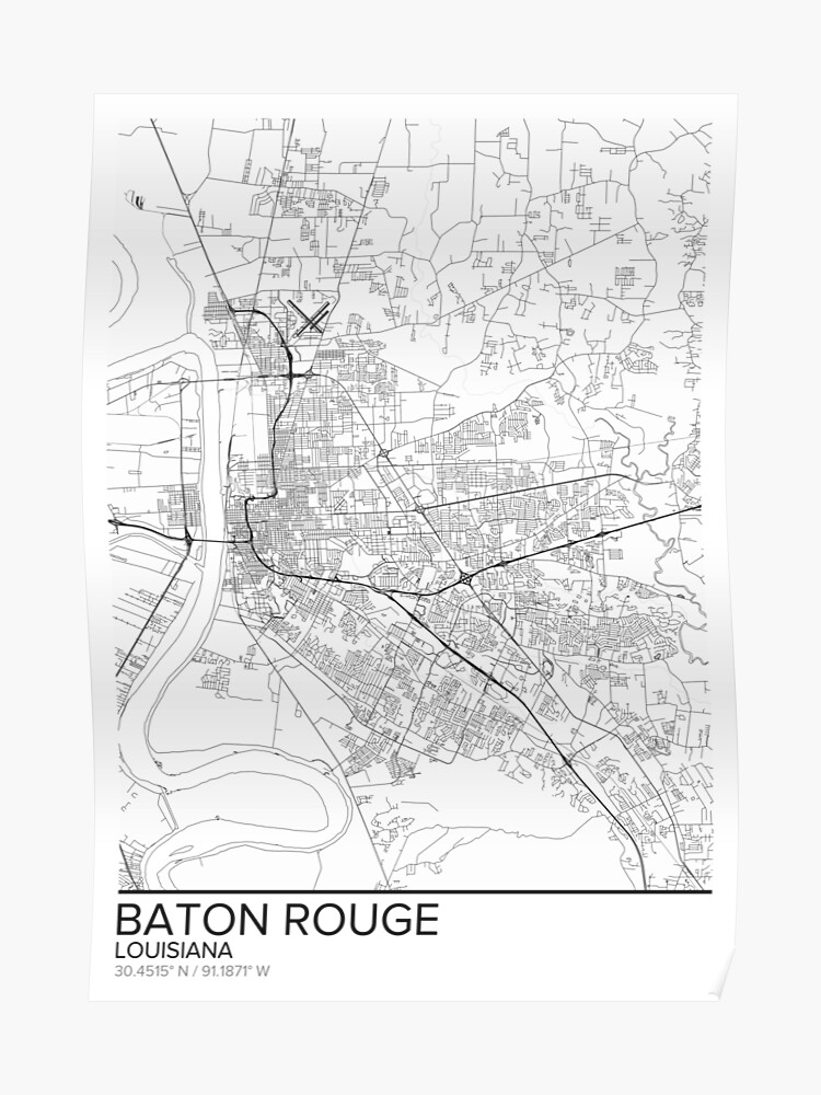Baton Rouge map poster print wall art, Louisiana gift printable, Home and  Nursery, Modern map decor for office, Map Art, Map Gifts | Poster
