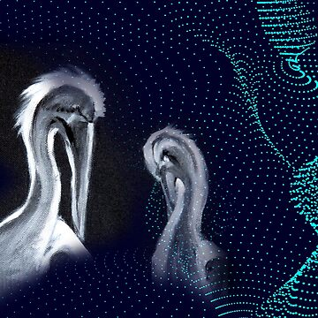 birds bird crane two partner love partnerlook feathers painting art generative design points waves beak by originalstar
