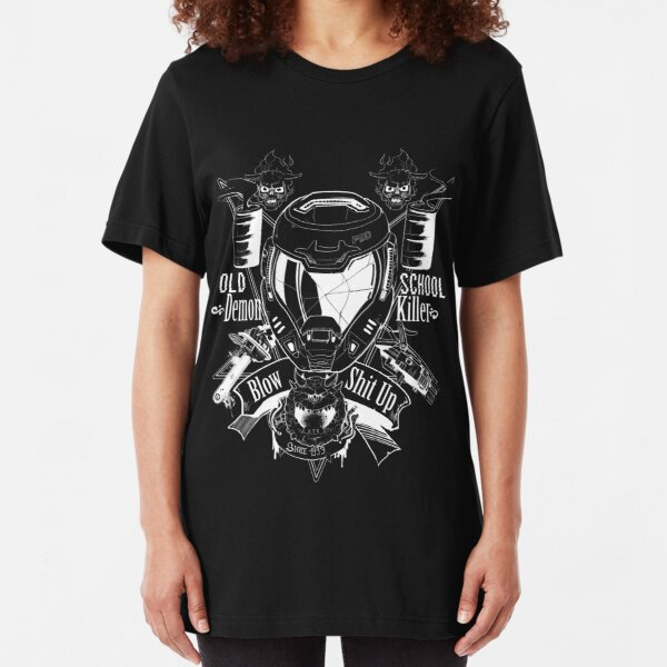 DOOM OLD SCHOOL DEMON KILLER Slim Fit T-Shirt