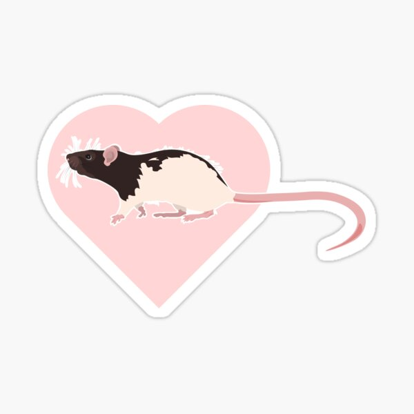 Hooded Rat with heart 2 Sticker