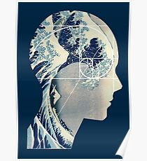 Great Wave, Hokusai Meets Fibonacci in My Head, Vertical Poster