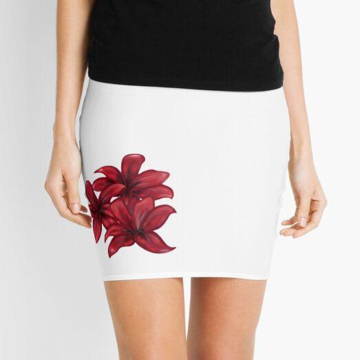 Rote Blüten / rote Blumen Minirock