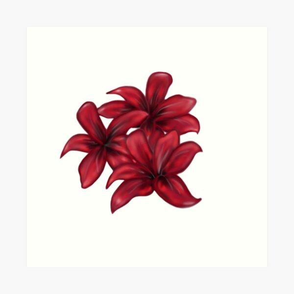 Rote Blüten / rote Blumen Kunstdruck