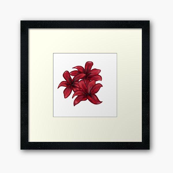 Rote Blüten / rote Blumen Gerahmter Kunstdruck