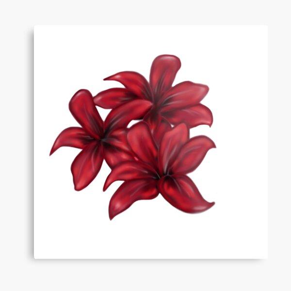 Rote Blüten / rote Blumen Metallbild