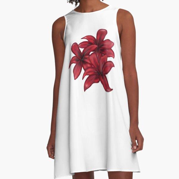 Rote Blüten / rote Blumen A-Linien Kleid