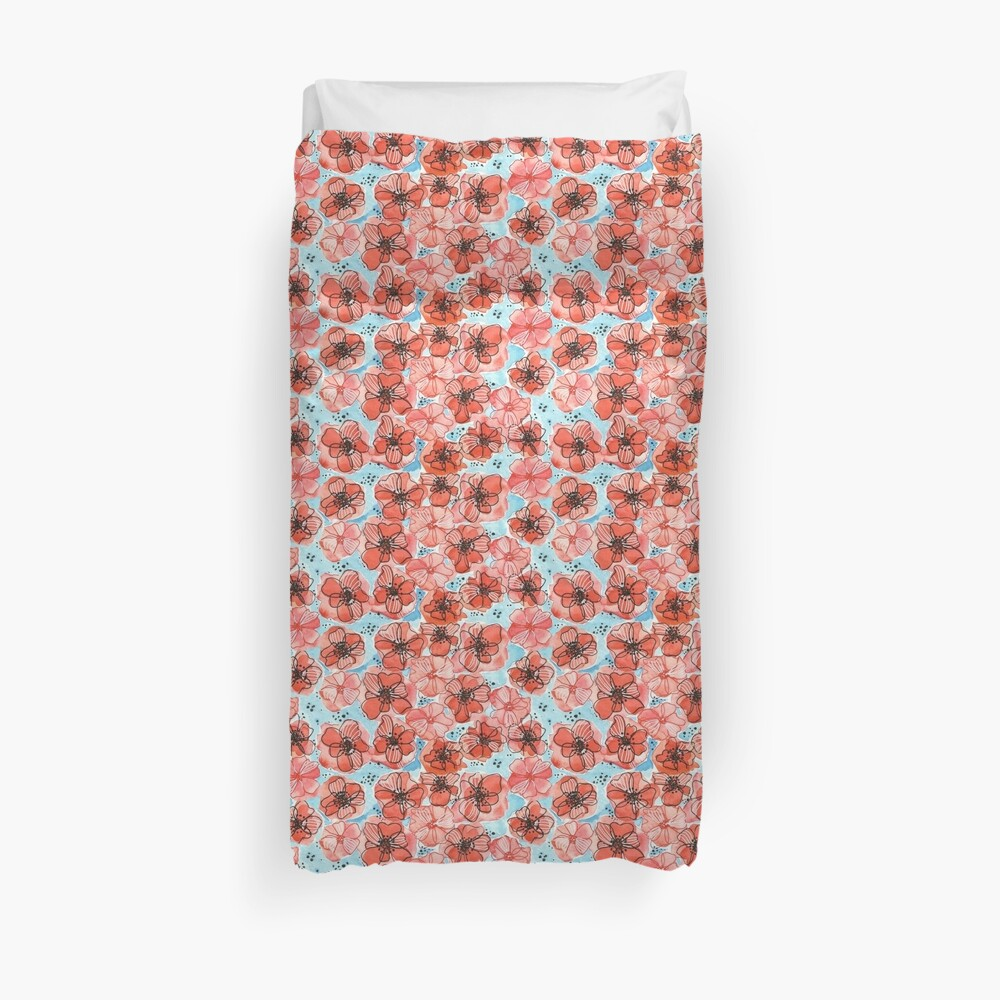 Hand Painted Watercolor Floral Pattern -Dorothy in the Poppy Field Duvet Cover