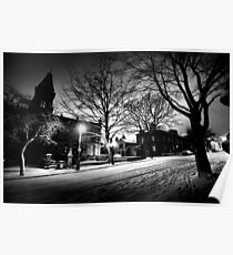 Saltaire Snow Scene at Night Poster