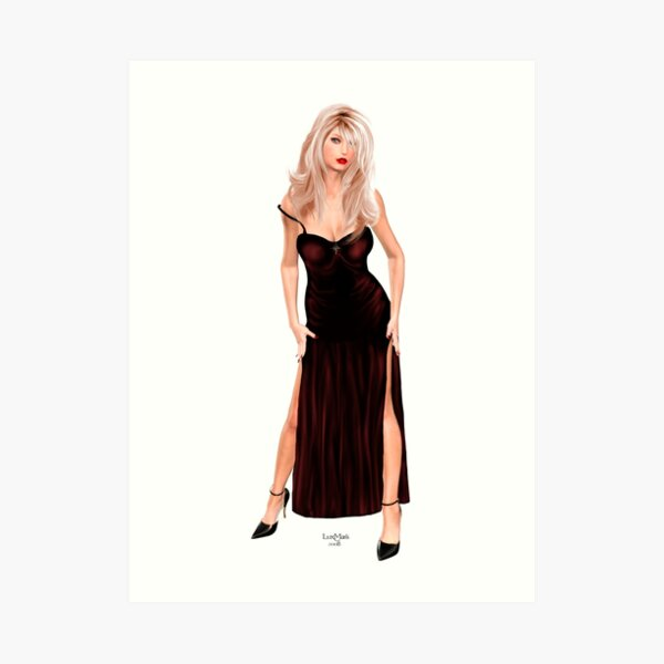 Tasha - Blondine im weinroten Samtkleid Kunstdruck