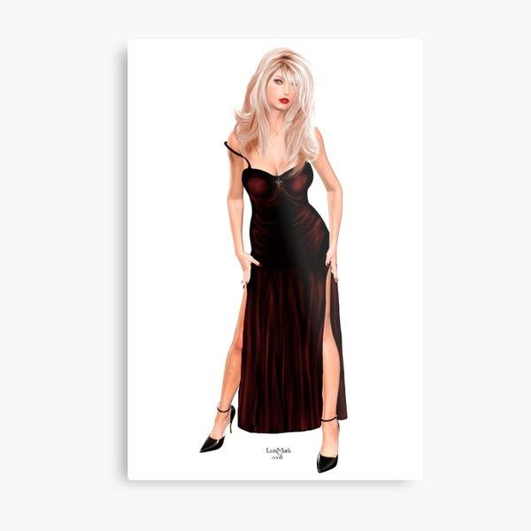 Tasha - Blondine im weinroten Samtkleid Metallbild