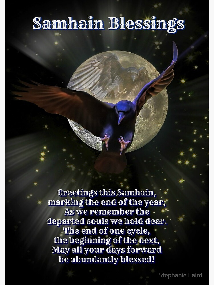 Samhain Blessings Pagan New Year Raven And Moon Greeting Card By Lazyl Redbubble