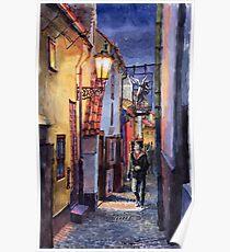 Prague Old Street Golden Line  Poster