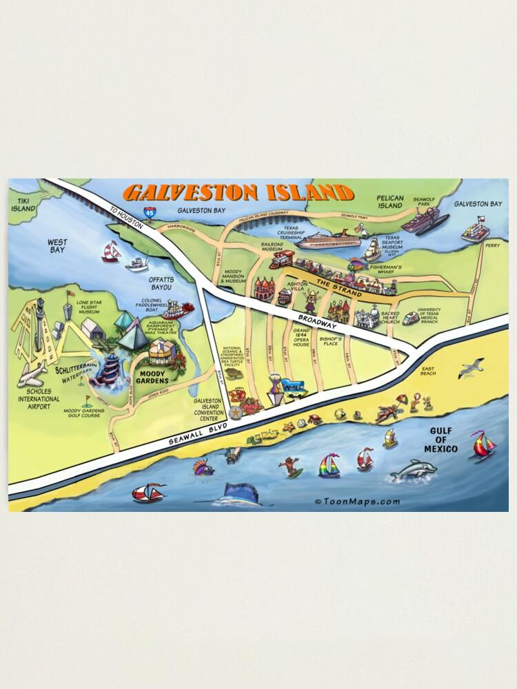 Galveston Texas Cartoon Map   Photographic Print on