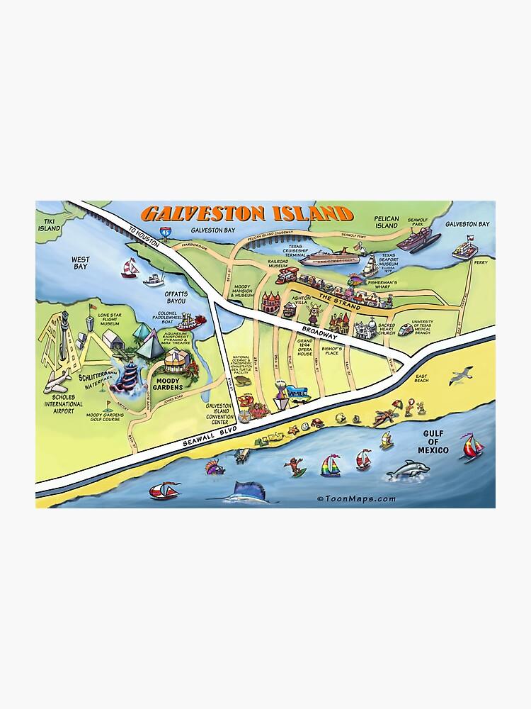 Galveston Map Of Texas.Galveston Texas Cartoon Map Photographic Print