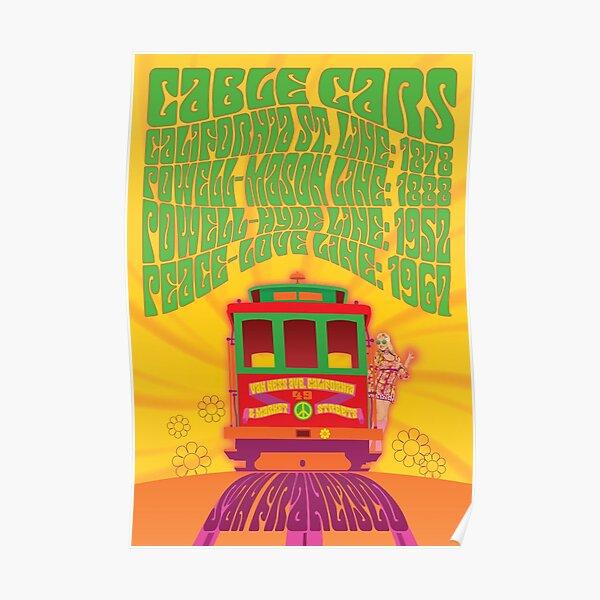 San Francisco - Peace & Love Line Cable Car Poster