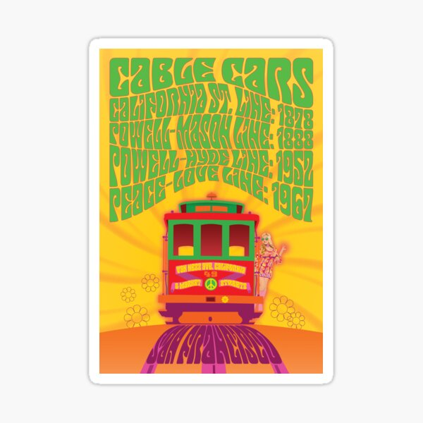 San Francisco - Peace & Love Line Cable Car Sticker
