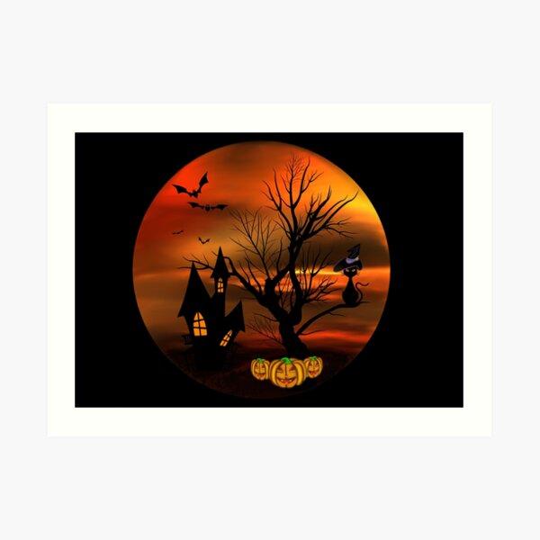 Halloween Katze mit Zauberhut in einem blattlosen Baum, leuchtende Kürbisse, Fledermäuse und eine alte Villa Kunstdruck