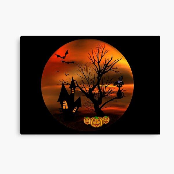 Halloween Katze mit Zauberhut in einem blattlosen Baum, leuchtende Kürbisse, Fledermäuse und eine alte Villa Leinwanddruck