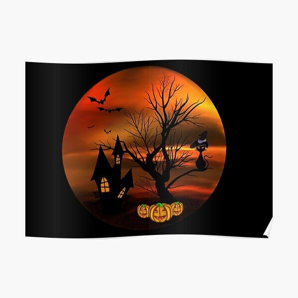 Halloween Katze mit Zauberhut in einem blattlosen Baum, leuchtende Kürbisse, Fledermäuse und eine alte Villa Poster
