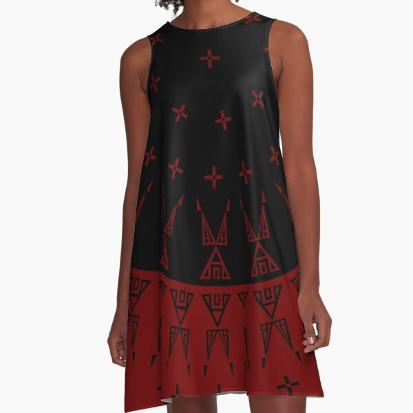 Night Stars (Maroon/Black) A-Line Dress