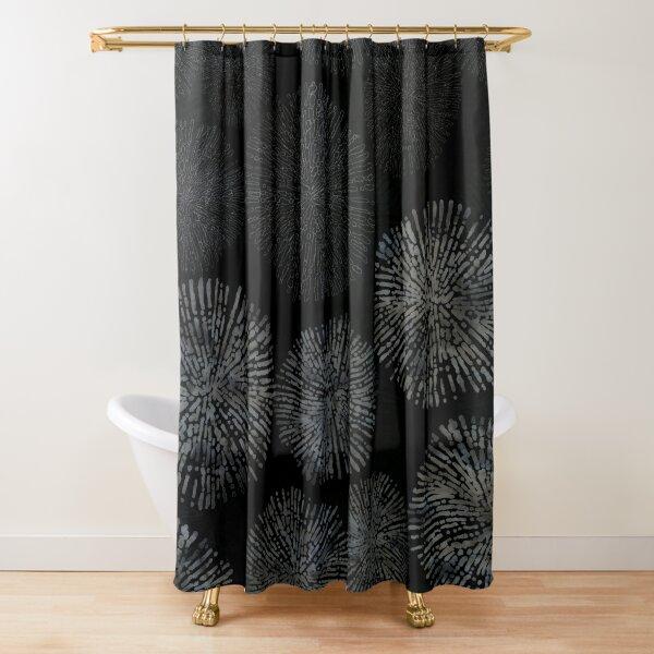 Black Shibori Sea Urchin Burst Pattern Shower Curtain