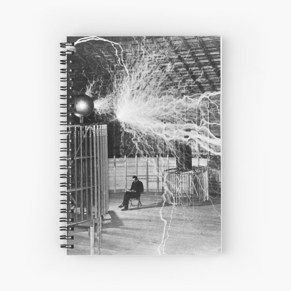 Nikola Tesla with his equipment (June 17, 1901) Spiral Notebook
