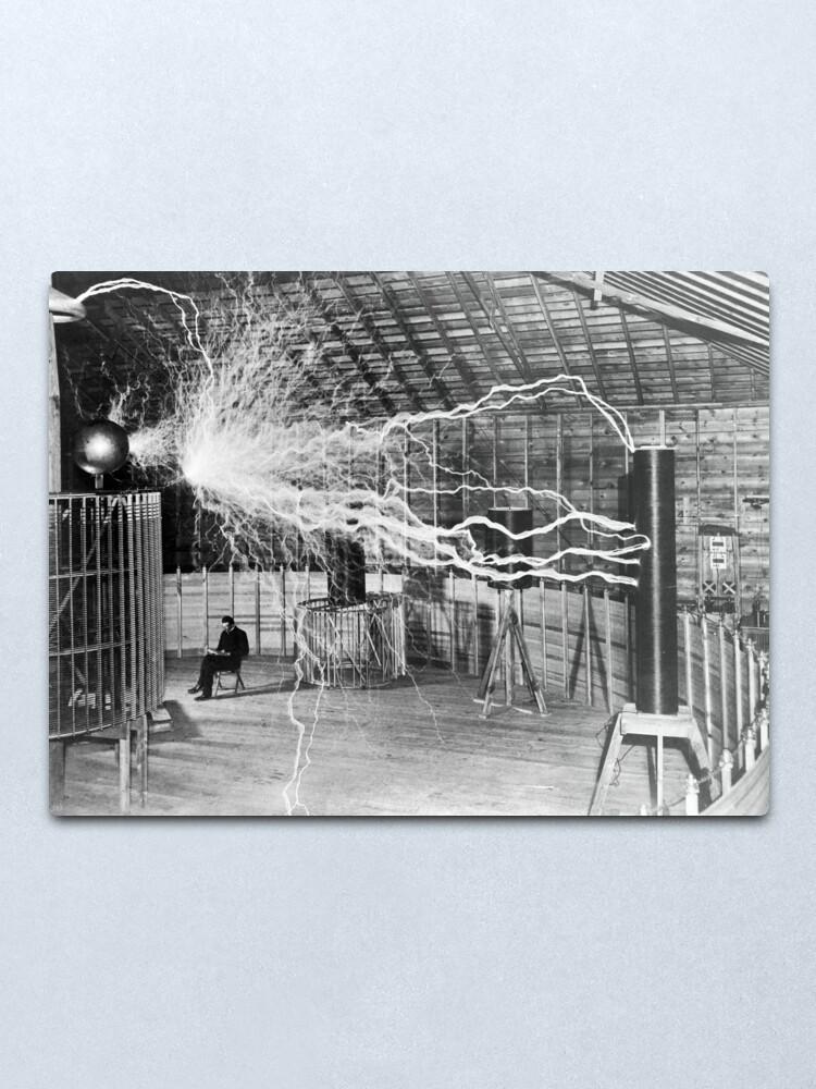 Alternate view of Nikola Tesla with his equipment (June 17, 1901) Metal Print