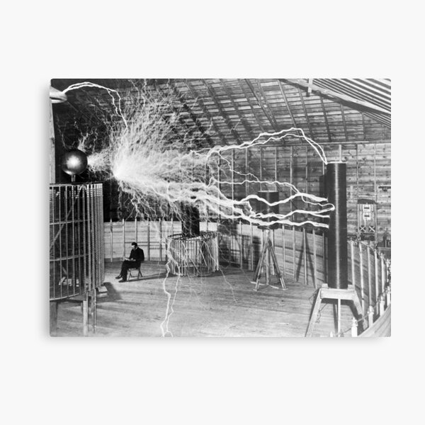 Nikola Tesla with his equipment (June 17, 1901) Metal Print