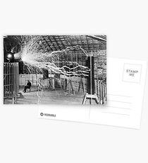 Nikola Tesla with his equipment (June 17, 1901) Postcards
