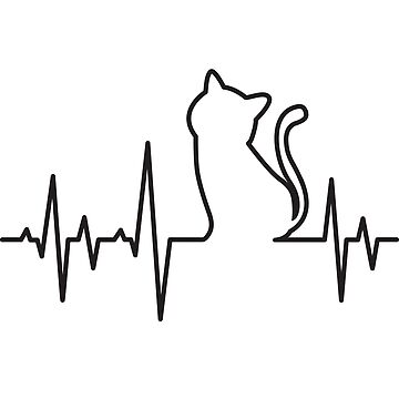 'Heart Beat Cat Lifeline' Cute Cats Adorable Gift by leyogi