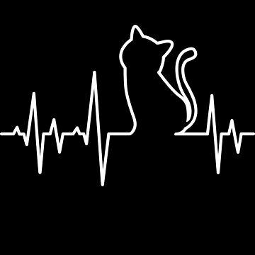 'Heart Beat Cat Lifeline' Cute Cats Adorable Gift by leyogi
