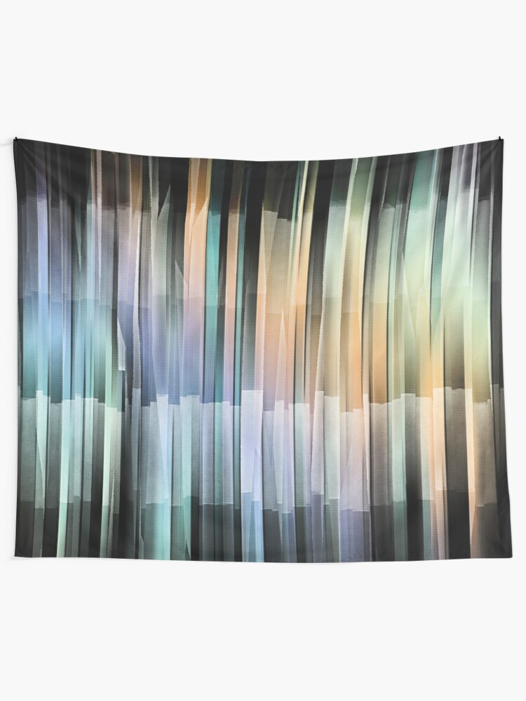 Alternate view of Colorful Textured Stripes Tapestry