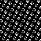 Love Heart Paws Pattern - Black White by WickedRefined - Nicole Demereckis