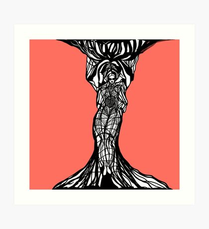 The woman within in living coral Art Print