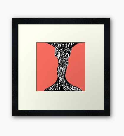 The woman within in living coral Framed Print