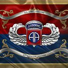 82nd Airborne Division - 82nd ABN Insignia with Parachutist Badge over Flag by Serge Averbukh