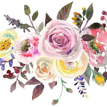 Pastell-Aquarell-Rosen von PixDezines