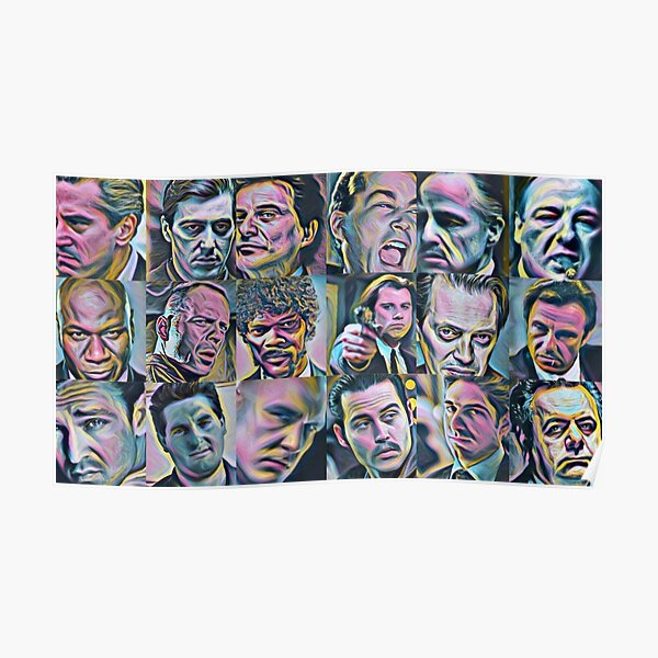 Gangsters classic movies painting Goodfellas Godfather Casino Scarface Sopranos Reservoir Dogs Pulp Fiction Poster