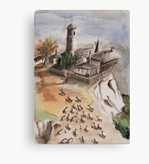 Sheep And a Monastery Canvas Print
