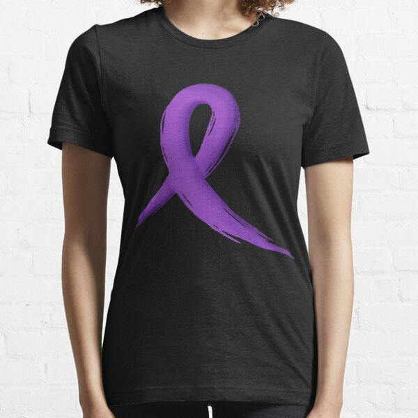Ribbon on front left and #fuckcancer on back FREE SHIPPING Purple Long Sleeve T-Shirt Pancreatic Cancer Awareness