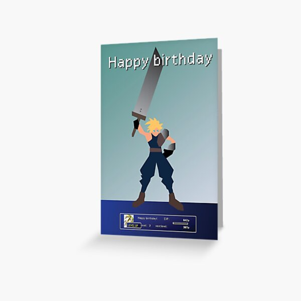 Final Fantasy 7 Cloud Strife inspired retro gaming birthday card  Greeting Card
