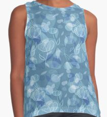 Blue Grey Floral Abstract Lace Contrast Tank