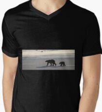 Silver Glow Panorama. Polar Bears at Sundown, Churchill, Canada  Men's V-Neck T-Shirt