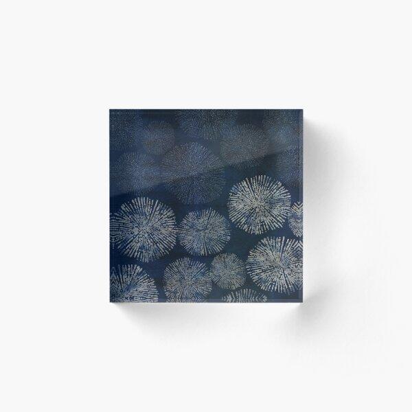 Shibori sea urchin burst dark denim print Acrylic Block