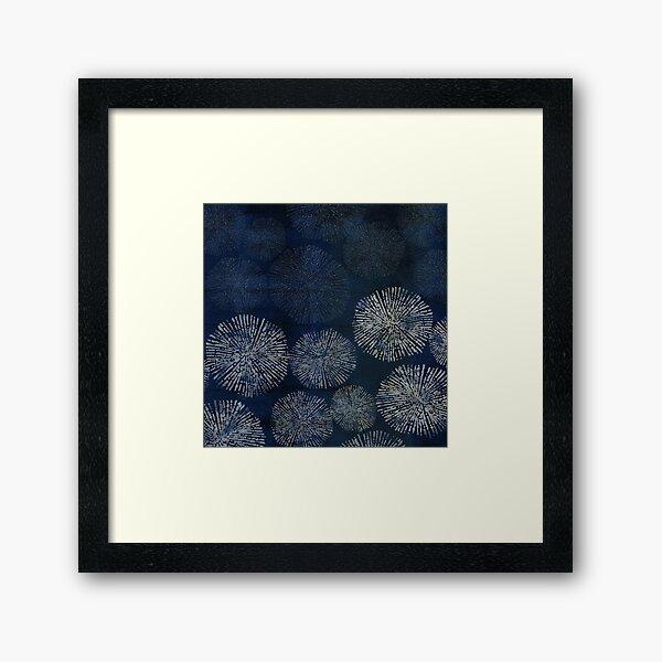 Shibori sea urchin burst dark denim print Framed Art Print