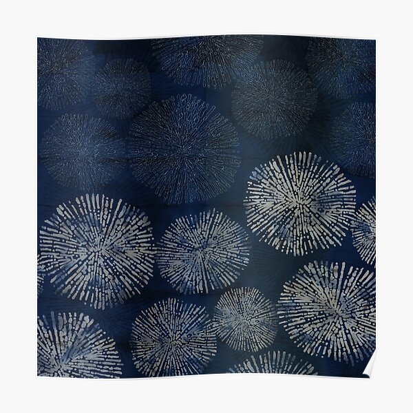 Shibori sea urchin burst dark denim print Poster